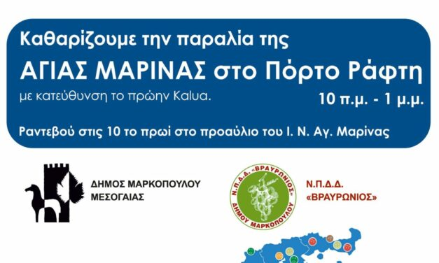 Καθαρίζουμε την παραλία της Αγίας Μαρίνας, στο Πόρτο Ράφτη,  συμμετέχουμε στο «Let's Do It Greece»!