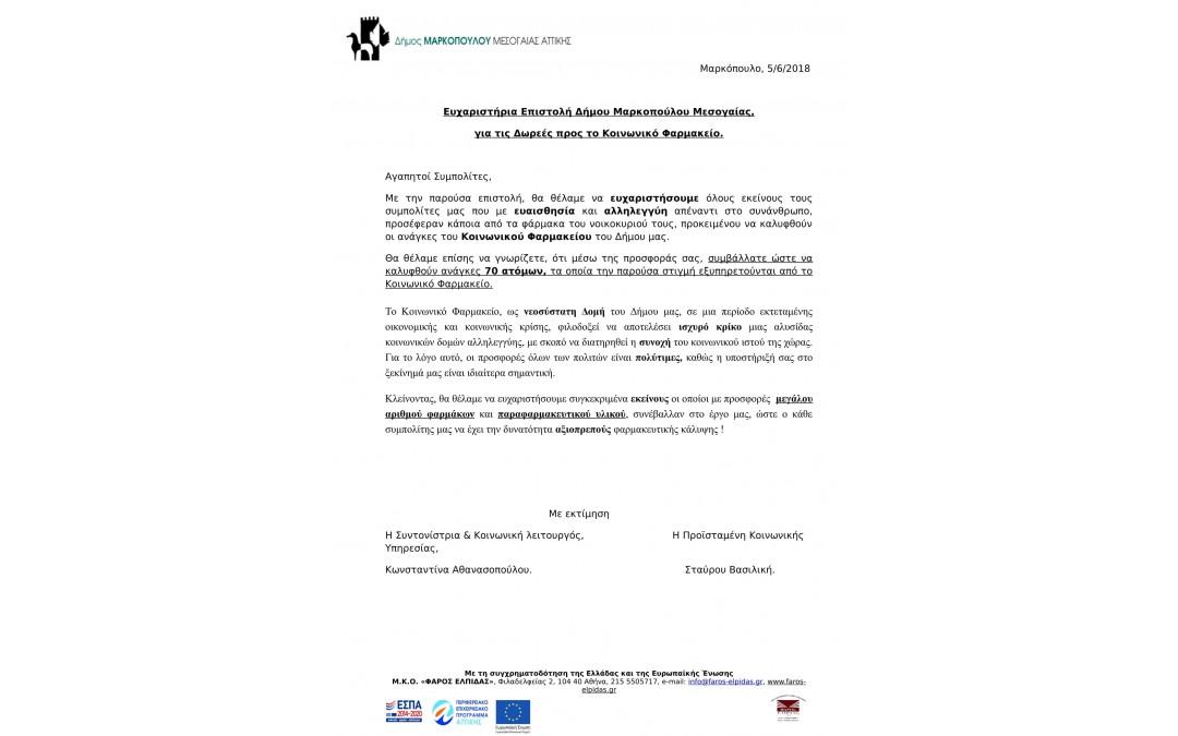 Ευχαριστήρια Επιστολή Δήμου Μαρκοπούλου Μεσογαίας, για τις Δωρεές προς το Κοινωνικό Φαρμακείο.