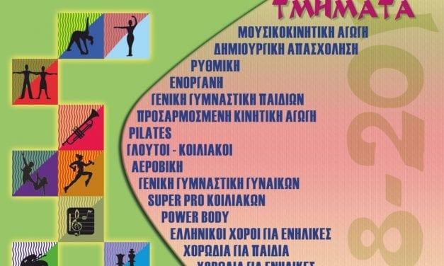 Έναρξη εγγραφών για το «Πρόγραμμα Αθλητισμός και Πολιτισμός για Όλους» του Δήμου Μαρκοπούλου!
