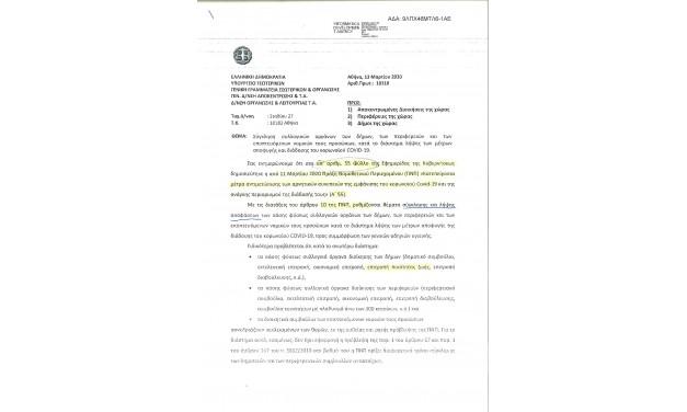 Σύγκληση συλλογικών οργάνων των Δήμων, των Περιφερειών και των εποπτευόμενων Νομικών τους Προσώπων κατά το διάστημα λήψης των μέτρων αποφυγής της διάδοσης του COVID-19