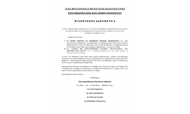 Ευχαριστήρια Επιστολή Φιλόπτωχου Αδελφότητας Ιερού Καθεδρικού Ναού Αγίου Ιωάννη Μαρκοπούλου