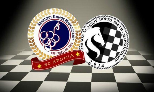 Ίδρυση τμήματος σκακιού Α.Ο. Μαρκοπούλου σε συνεργασία με τον Όμιλο Σκακιού Πόρτο Ράφτη – Μαρκοπούλου