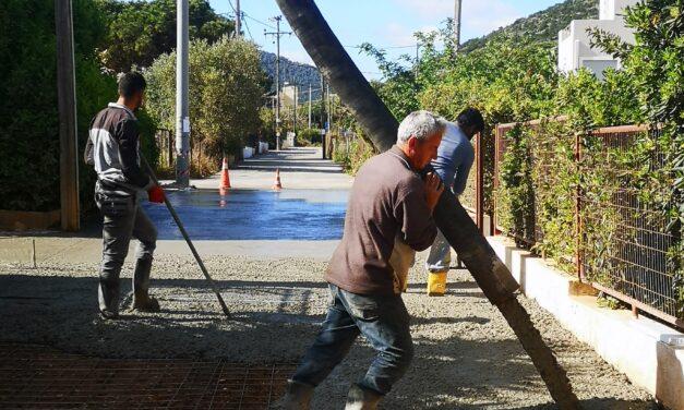 Αντικατάσταση αγωγού ύδρευσης και κατασκευή οδοστρώματος οδού Αγίας Μαρίνας, στην περιοχή Αυλάκι, στο Πόρτο Ράφτη